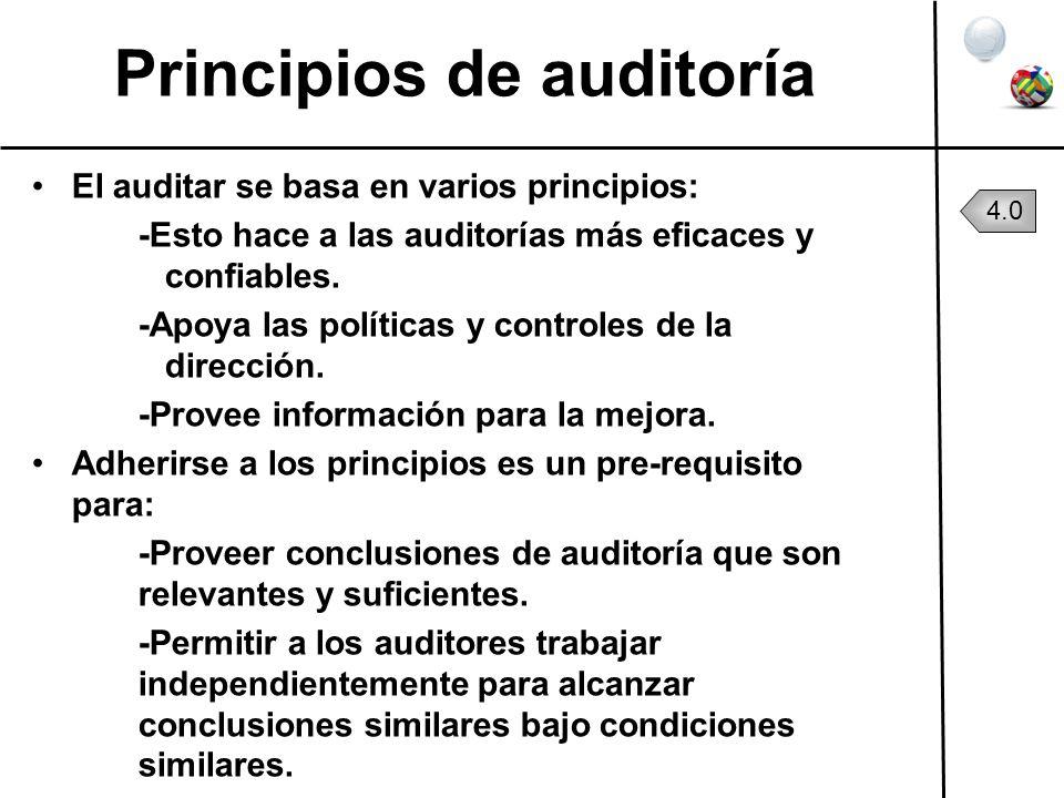 Principios de auditoría El auditar se basa en varios principios: -Esto hace a las auditorías más eficaces y confiables. -Apoya las políticas y control