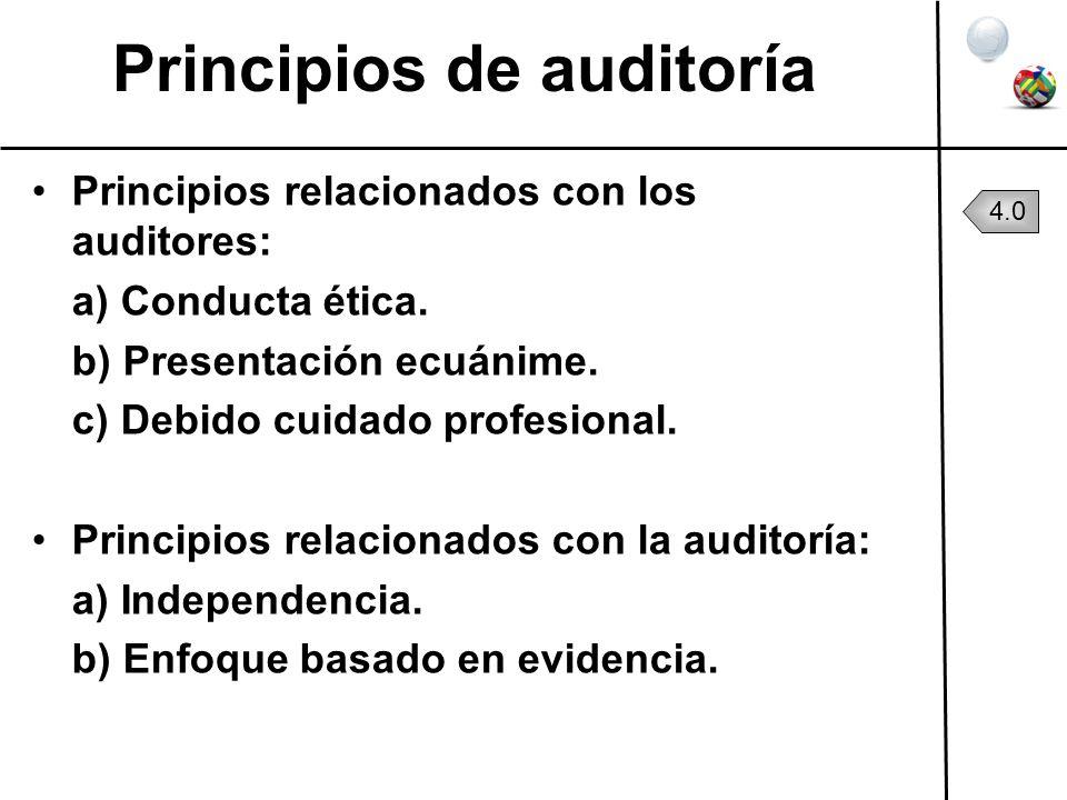 Principios de auditoría Principios relacionados con los auditores: a) Conducta ética. b) Presentación ecuánime. c) Debido cuidado profesional. Princip