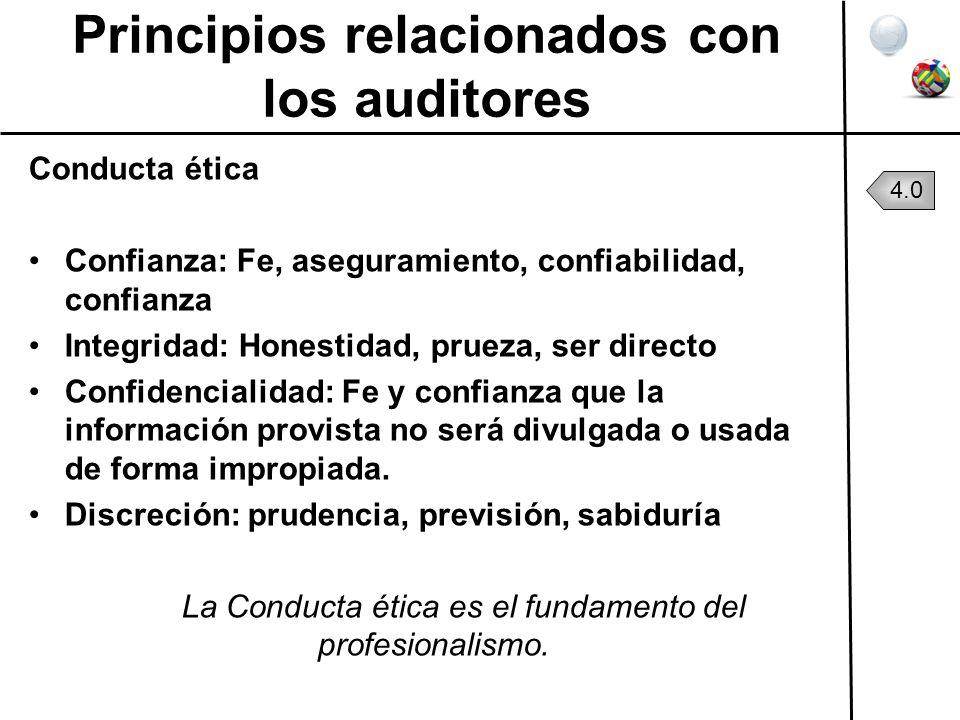 Principios relacionados con los auditores Conducta ética Confianza: Fe, aseguramiento, confiabilidad, confianza Integridad: Honestidad, prueza, ser di