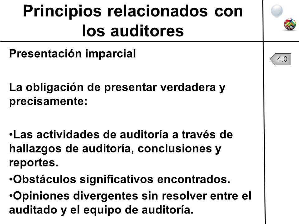 Principios relacionados con los auditores Presentación imparcial La obligación de presentar verdadera y precisamente: Las actividades de auditoría a t