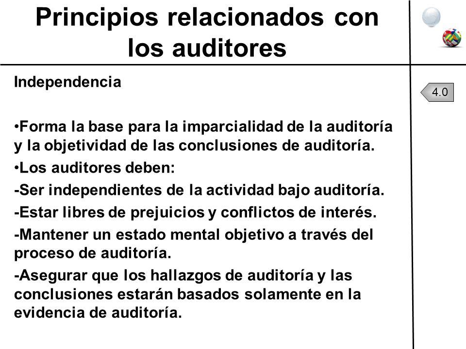 Principios relacionados con los auditores Independencia Forma la base para la imparcialidad de la auditoría y la objetividad de las conclusiones de au