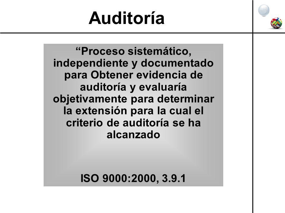 Auditoría Proceso sistemático, independiente y documentado para Obtener evidencia de auditoría y evaluaría objetivamente para determinar la extensión