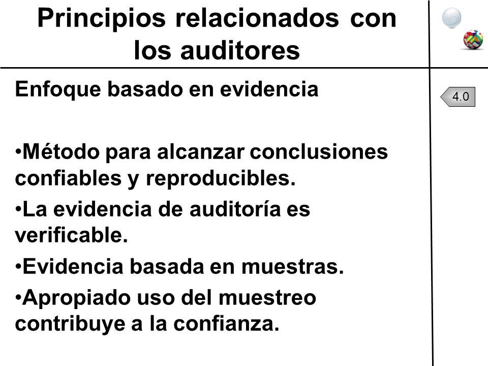 Principios relacionados con los auditores Enfoque basado en evidencia Método para alcanzar conclusiones confiables y reproducibles. La evidencia de au