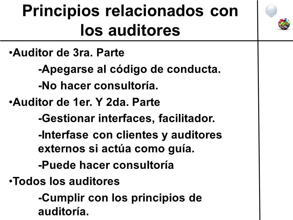Principios relacionados con los auditores Auditor de 3ra. Parte -Apegarse al código de conducta. -No hacer consultoría. Auditor de 1er. Y 2da. Parte -