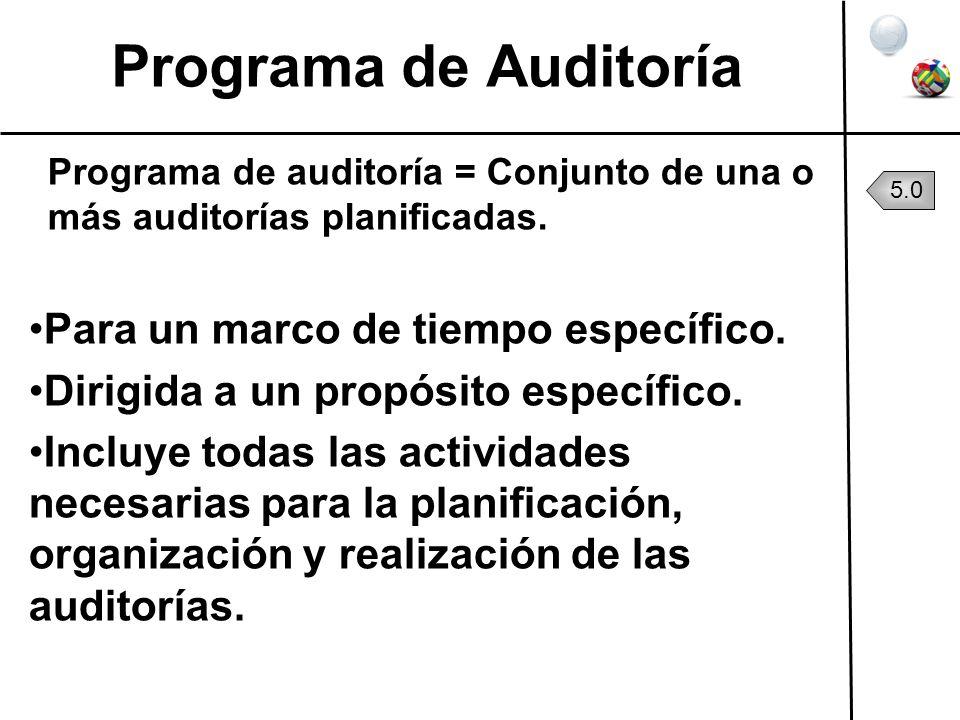 Programa de Auditoría Programa de auditoría = Conjunto de una o más auditorías planificadas. Para un marco de tiempo específico. Dirigida a un propósi