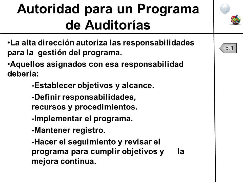 Autoridad para un Programa de Auditorías La alta dirección autoriza las responsabilidades para la gestión del programa. Aquellos asignados con esa res