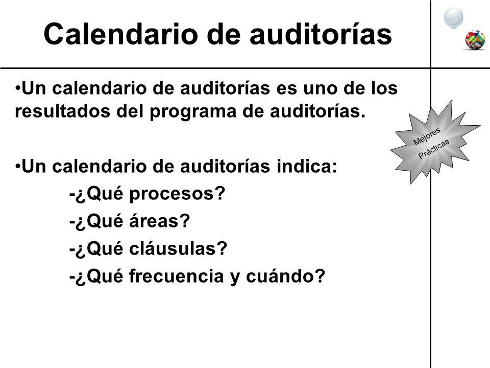 Calendario de auditorías Un calendario de auditorías es uno de los resultados del programa de auditorías. Un calendario de auditorías indica: -¿Qué pr
