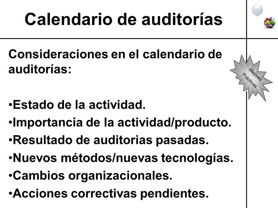 Calendario de auditorías Consideraciones en el calendario de auditorías: Estado de la actividad. Importancia de la actividad/producto. Resultado de au