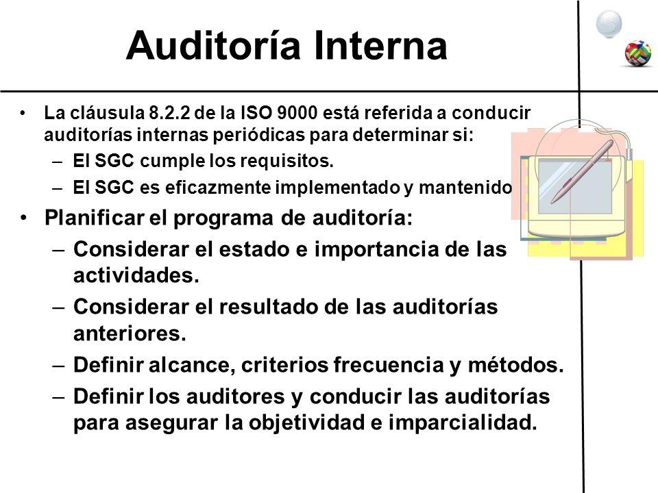 Auditoría Interna La cláusula 8.2.2 de la ISO 9000 está referida a conducir auditorías internas periódicas para determinar si: –El SGC cumple los requ