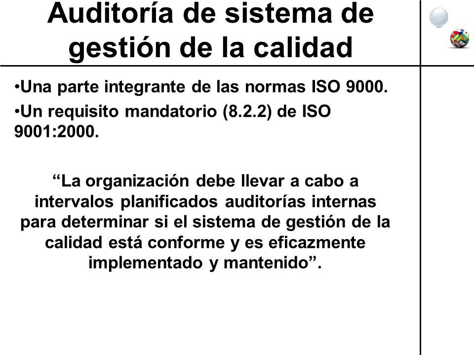 Auditoría de sistema de gestión de la calidad Una parte integrante de las normas ISO 9000. Un requisito mandatorio (8.2.2) de ISO 9001:2000. La organi