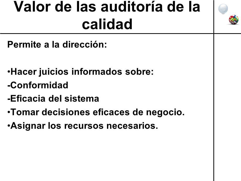 Valor de las auditoría de la calidad Permite a la dirección: Hacer juicios informados sobre: -Conformidad -Eficacia del sistema Tomar decisiones efica