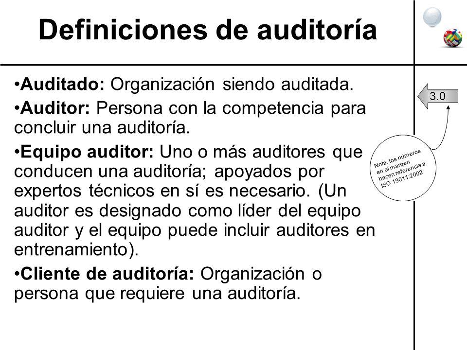 Definiciones de auditoría Auditado: Organización siendo auditada. Auditor: Persona con la competencia para concluir una auditoría. Equipo auditor: Uno