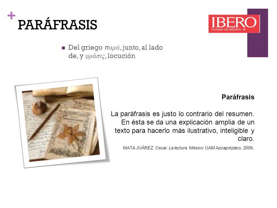 + PARÁFRASIS Paráfrasis Interpretación de un texto, que ayude aclarar el significado del mismo.