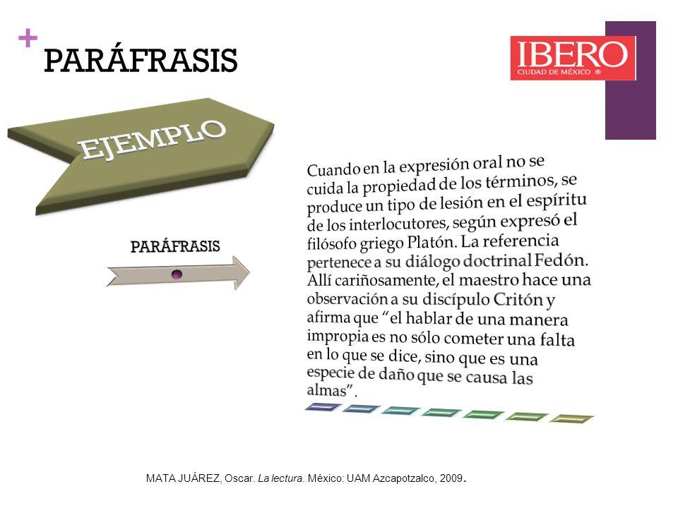 + PARÁFRASIS MATA JUÁREZ, Oscar. La lectura. México: UAM Azcapotzalco, 2009.