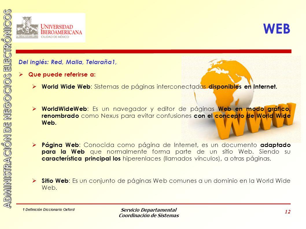 Servicio Departamental Coordinación de Sistemas 12 WEB Del inglés: Red, Malla, Telaraña1, Que puede referirse a: World Wide Web : Sistemas de páginas