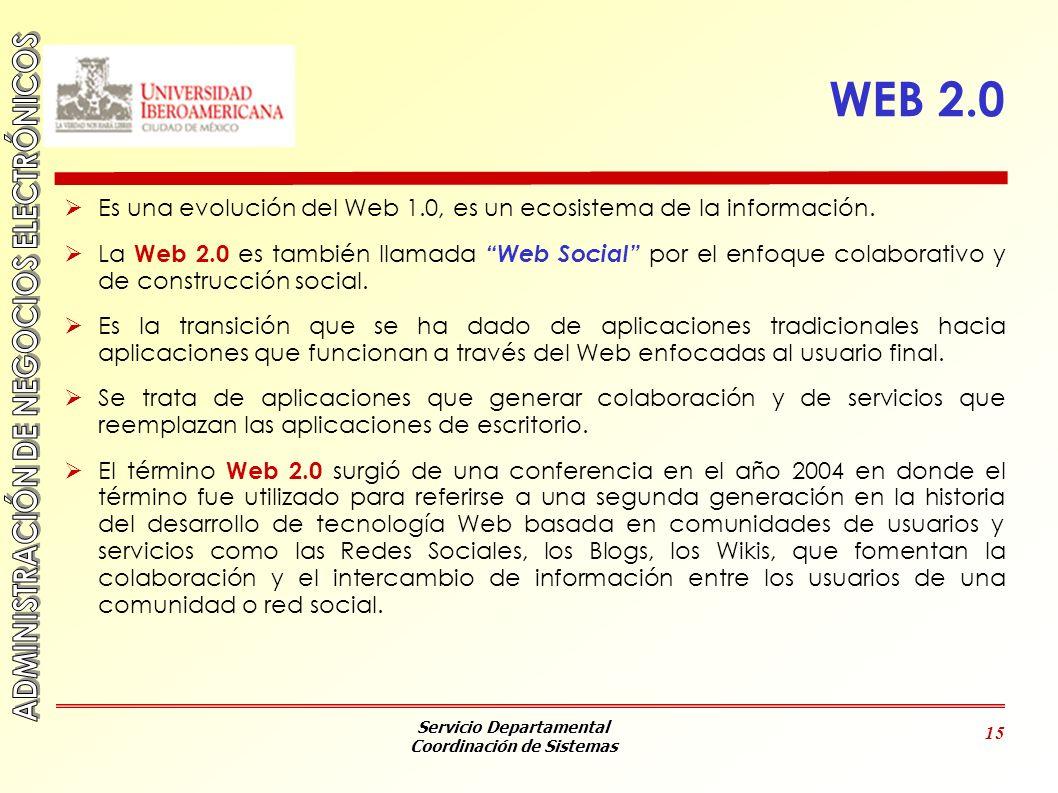 Servicio Departamental Coordinación de Sistemas 15 WEB 2.0 Es una evolución del Web 1.0, es un ecosistema de la información. La Web 2.0 es también lla