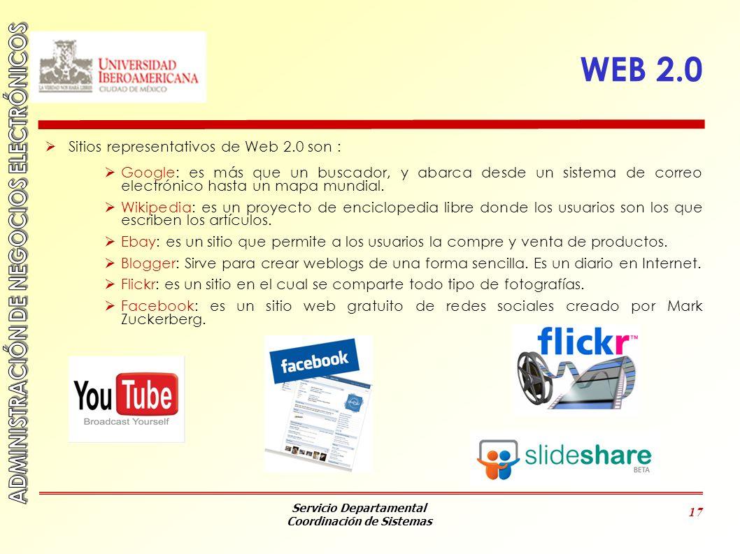 Servicio Departamental Coordinación de Sistemas 17 WEB 2.0 Sitios representativos de Web 2.0 son : Google: es más que un buscador, y abarca desde un s