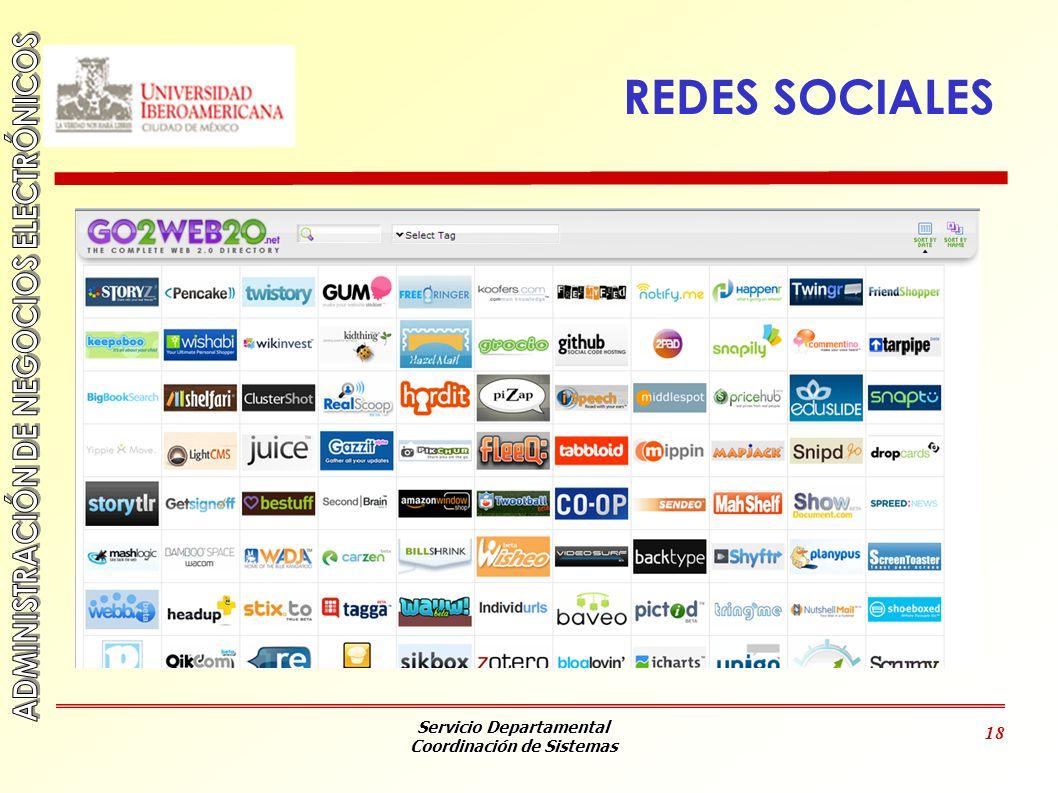 Servicio Departamental Coordinación de Sistemas 18 REDES SOCIALES