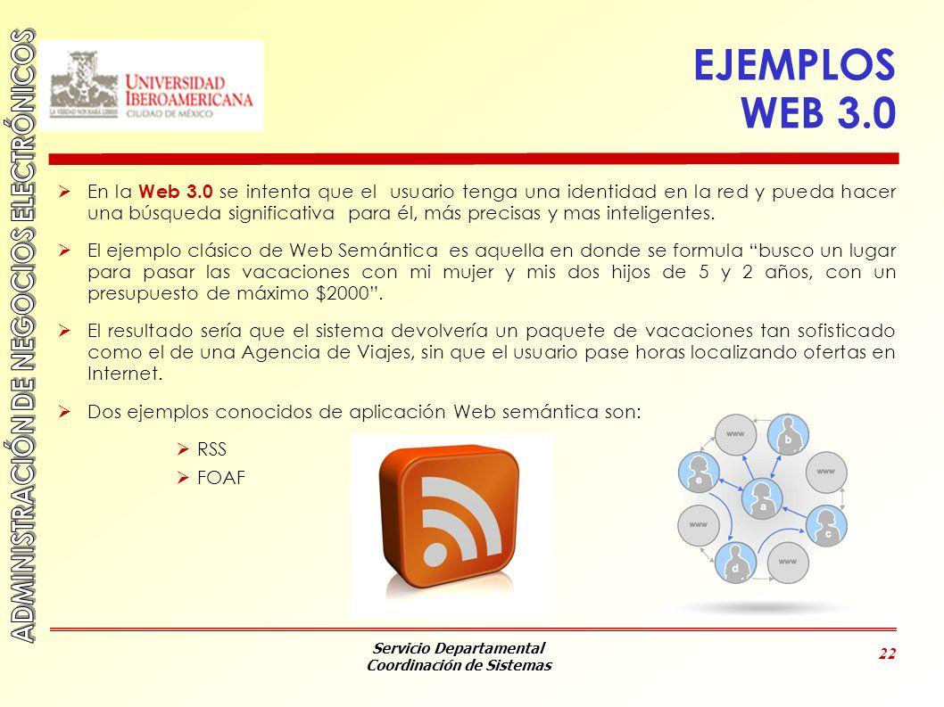 Servicio Departamental Coordinación de Sistemas 22 EJEMPLOS WEB 3.0 En la Web 3.0 se intenta que el usuario tenga una identidad en la red y pueda hace