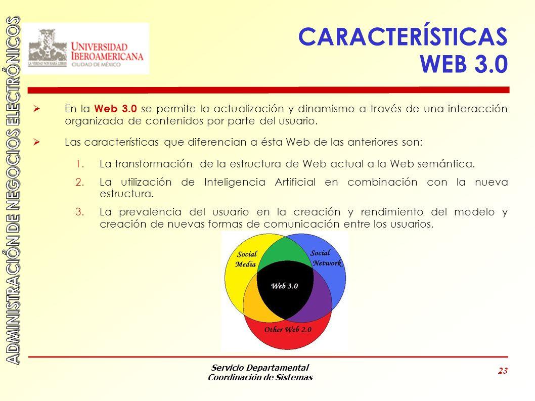 Servicio Departamental Coordinación de Sistemas 23 CARACTERÍSTICAS WEB 3.0 En la Web 3.0 se permite la actualización y dinamismo a través de una inter