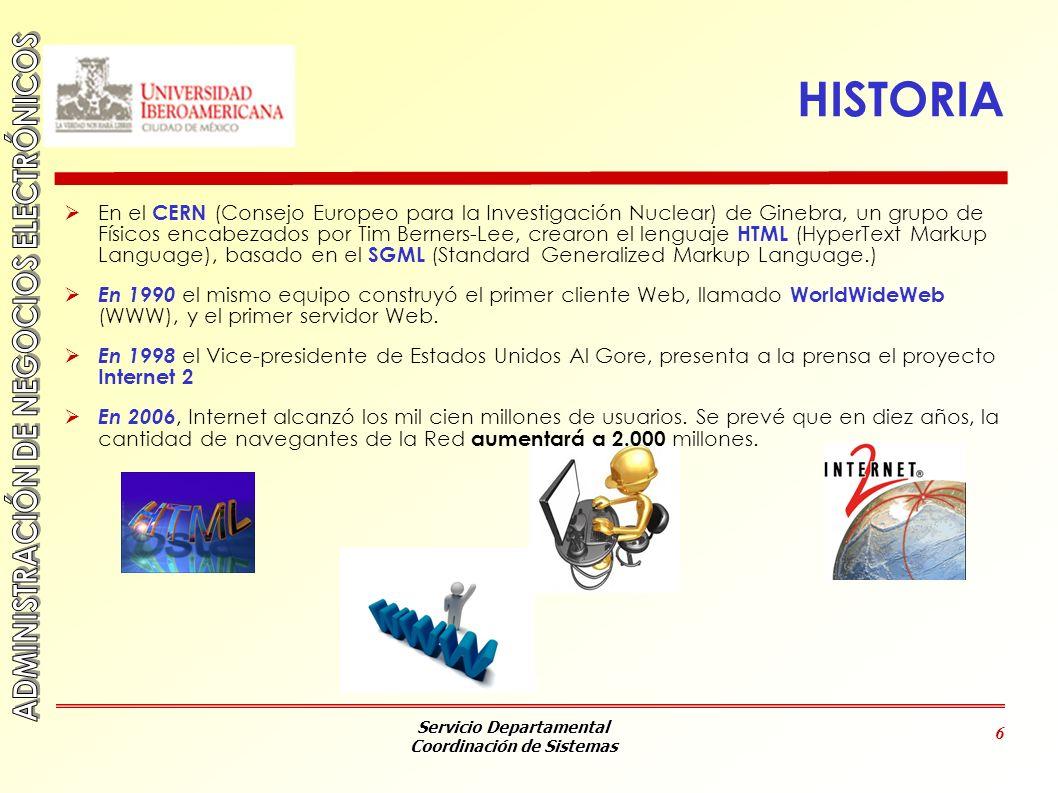 Servicio Departamental Coordinación de Sistemas 6 HISTORIA En el CERN (Consejo Europeo para la Investigación Nuclear) de Ginebra, un grupo de Físicos