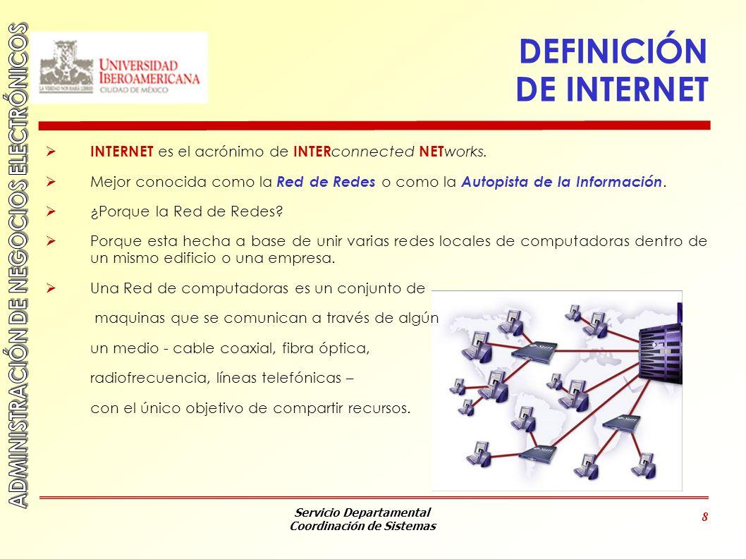 Servicio Departamental Coordinación de Sistemas 8 DEFINICIÓN DE INTERNET INTERNET es el acrónimo de INTER connected NET works. Mejor conocida como la