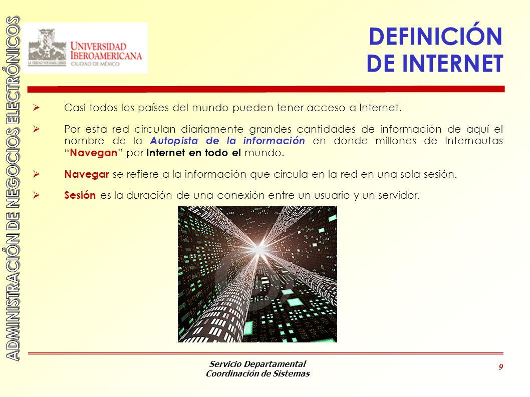 Servicio Departamental Coordinación de Sistemas 9 DEFINICIÓN DE INTERNET Casi todos los países del mundo pueden tener acceso a Internet. Por esta red