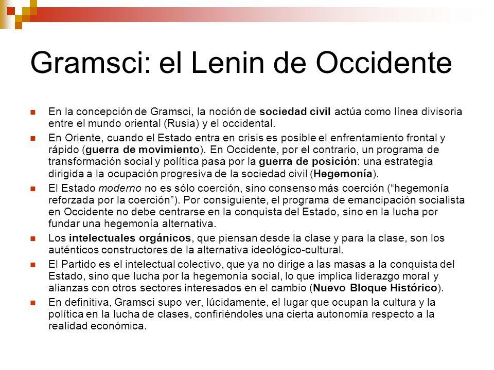 Gramsci: el Lenin de Occidente En la concepción de Gramsci, la noción de sociedad civil actúa como línea divisoria entre el mundo oriental (Rusia) y e