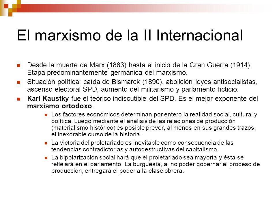 El revisionismo La mejora de las condiciones de vida de la clase trabajadora, la aparición de las clases medias, y los errores políticos del SPD (aislacionismo proletario), llevaron a Berstein a realizar la primera revisión profunda del marxismo; iniciando con ello el socialismo reformista.