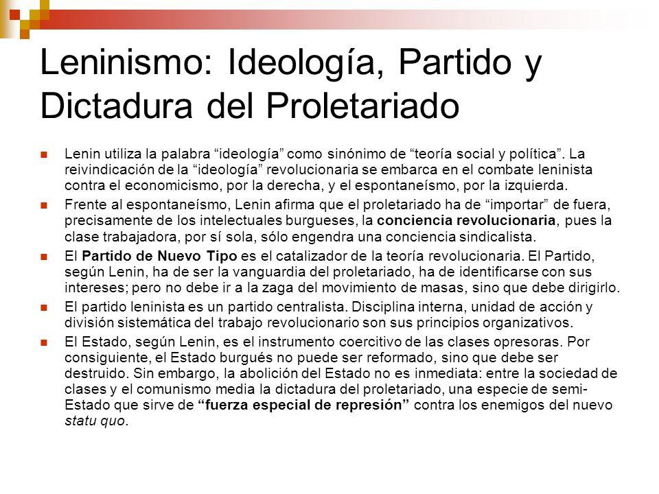 Leninismo: Ideología, Partido y Dictadura del Proletariado Lenin utiliza la palabra ideología como sinónimo de teoría social y política. La reivindica