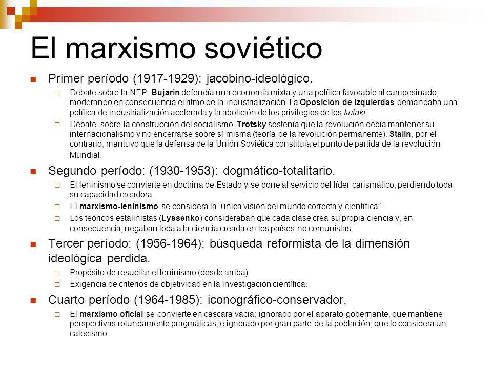 El marxismo soviético Primer período (1917-1929): jacobino-ideológico. Debate sobre la NEP. Bujarin defendía una economía mixta y una política favorab