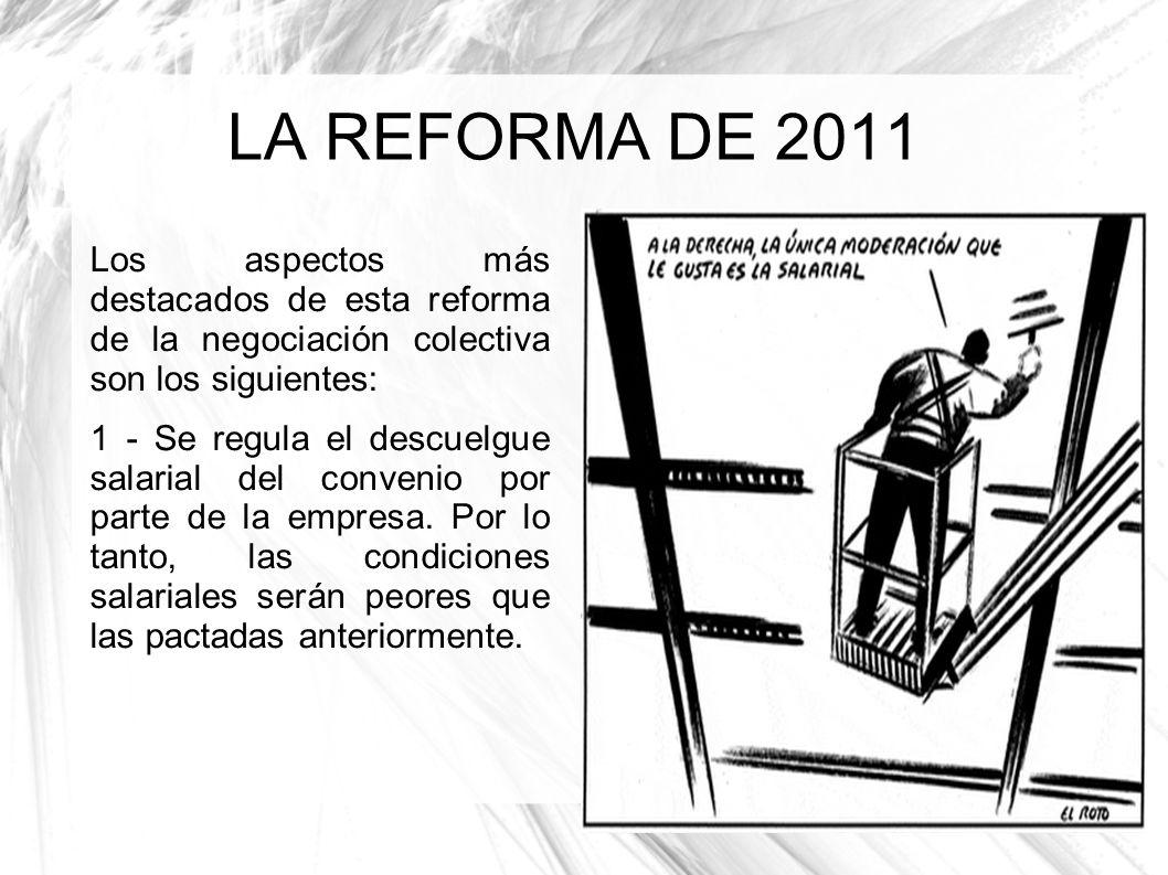 LA REFORMA DE 2011 Los aspectos más destacados de esta reforma de la negociación colectiva son los siguientes: 1 - Se regula el descuelgue salarial de