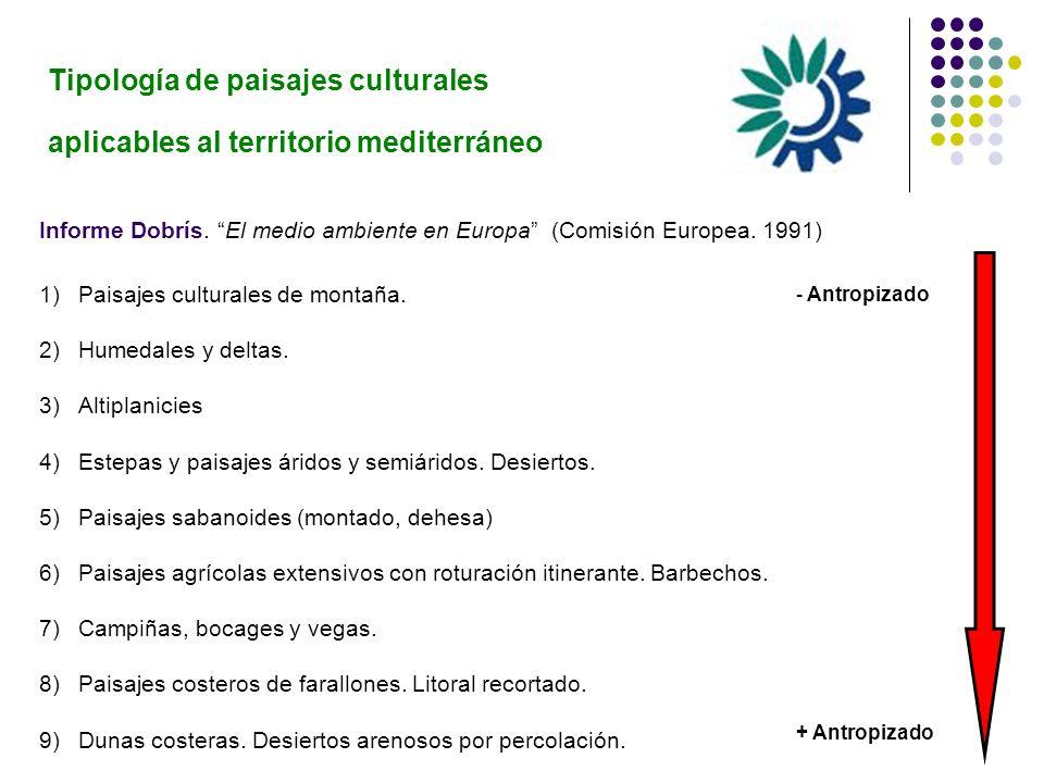 Tipología de paisajes culturales aplicables al territorio mediterráneo Informe Dobrís. El medio ambiente en Europa (Comisión Europea. 1991) 1)Paisajes