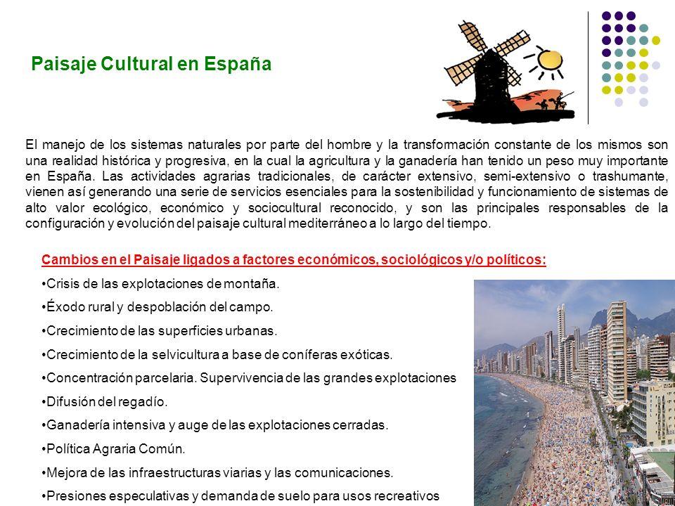 Paisaje Cultural en España El manejo de los sistemas naturales por parte del hombre y la transformación constante de los mismos son una realidad histó