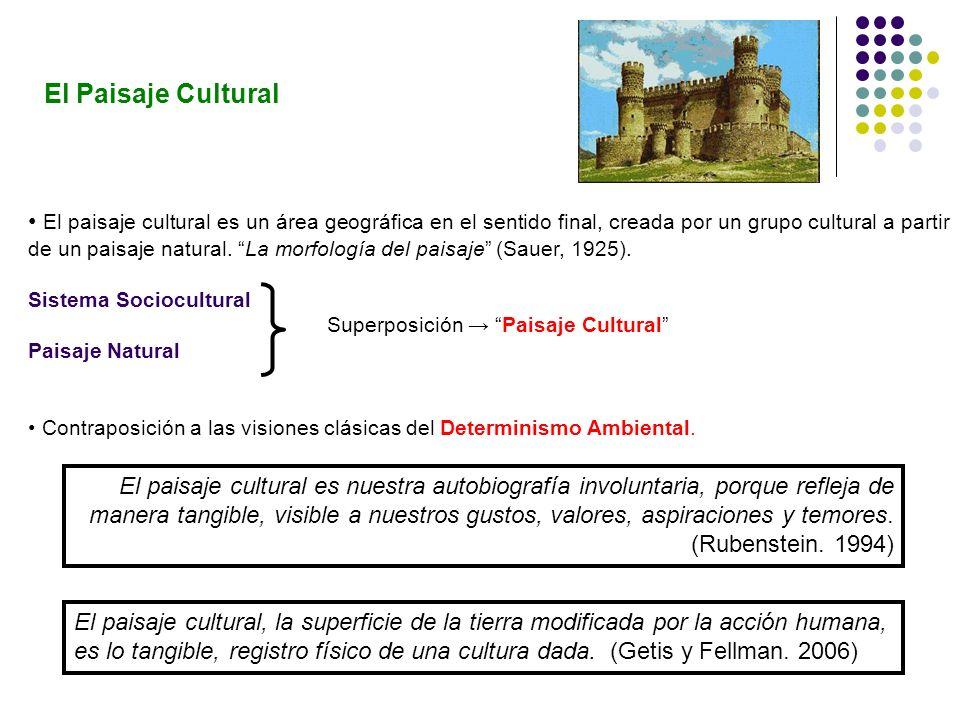 El paisaje cultural es un área geográfica en el sentido final, creada por un grupo cultural a partir de un paisaje natural. La morfología del paisaje
