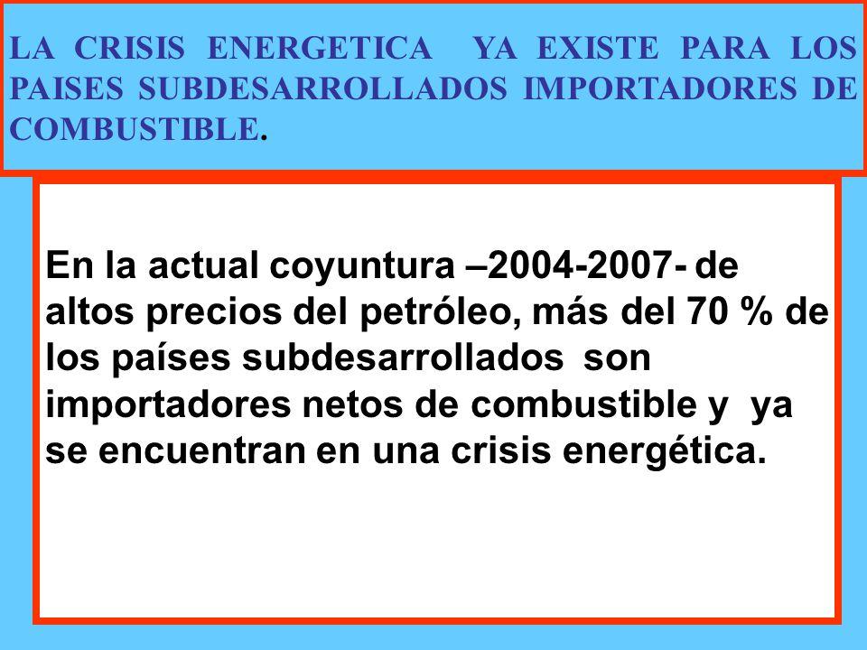 En la actual coyuntura –2004-2007- de altos precios del petróleo, más del 70 % de los países subdesarrollados son importadores netos de combustible y ya se encuentran en una crisis energética.