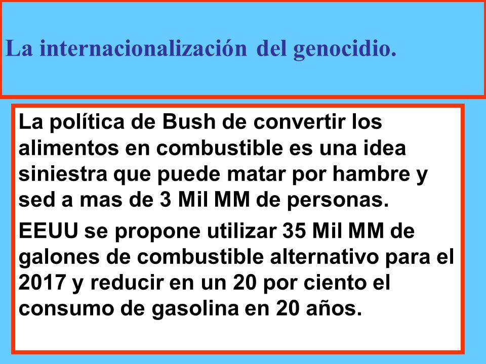 La política de Bush de convertir los alimentos en combustible es una idea siniestra que puede matar por hambre y sed a mas de 3 Mil MM de personas.
