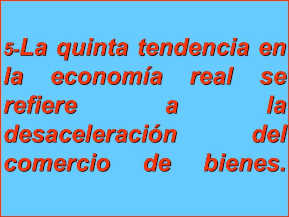 5- La quinta tendencia en la economía real se refiere a la desaceleración del comercio de bienes.