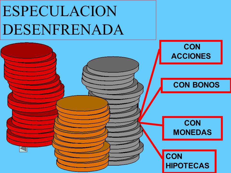 CON ACCIONES CON BONOS CON MONEDAS CON HIPOTECAS ESPECULACION DESENFRENADA
