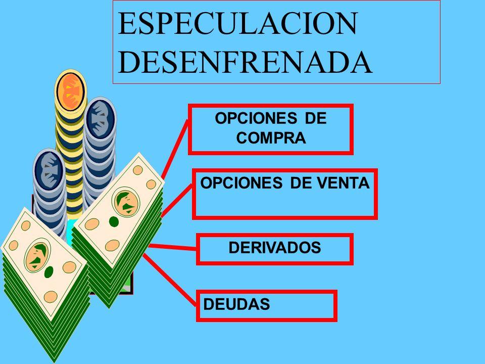 OPCIONES DE COMPRA OPCIONES DE VENTA DERIVADOS DEUDAS ESPECULACION DESENFRENADA