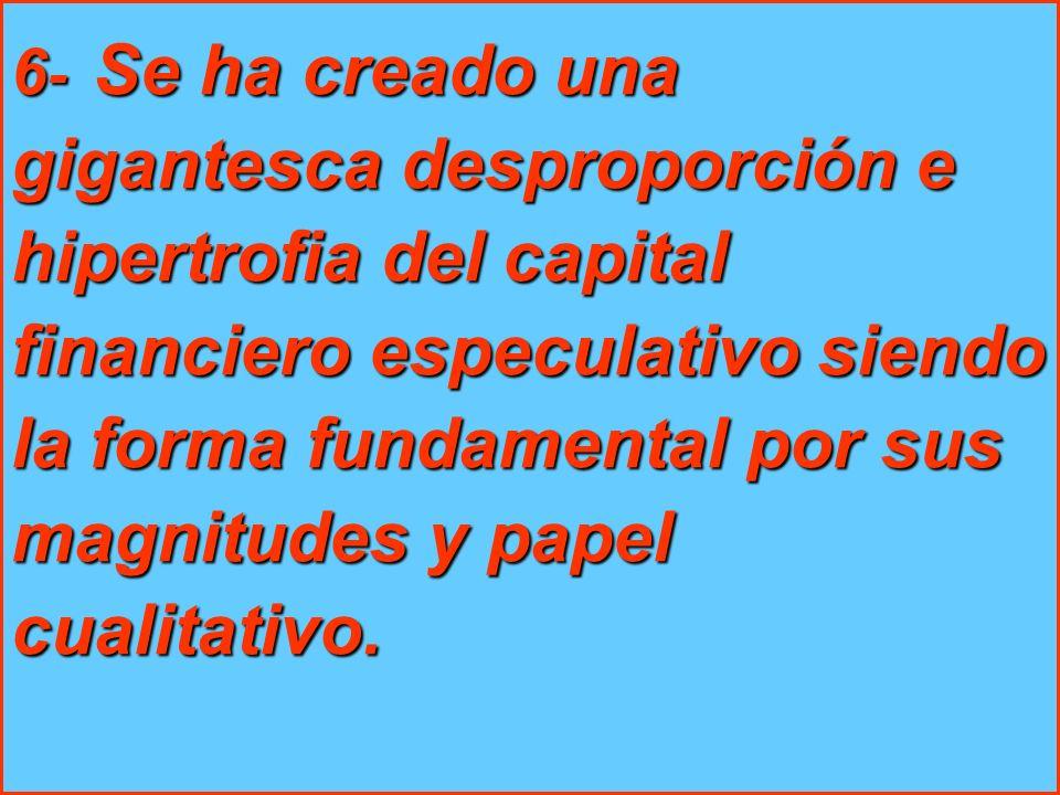 6 - Se ha creado una gigantesca desproporción e hipertrofia del capital financiero especulativo siendo la forma fundamental por sus magnitudes y papel cualitativo.