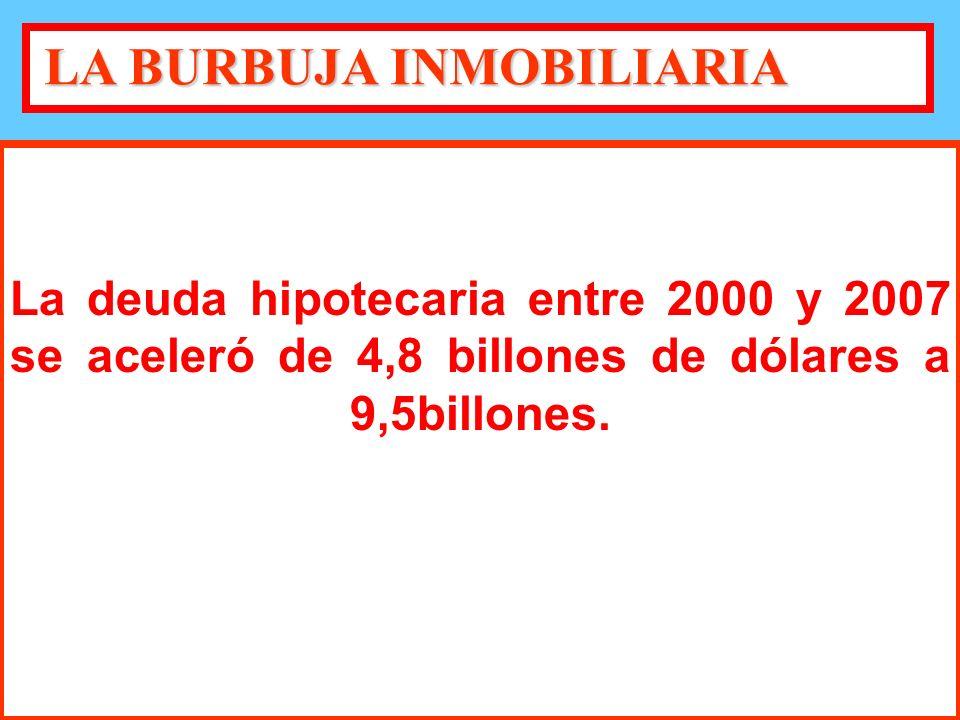 La deuda hipotecaria entre 2000 y 2007 se aceleró de 4,8 billones de dólares a 9,5billones.