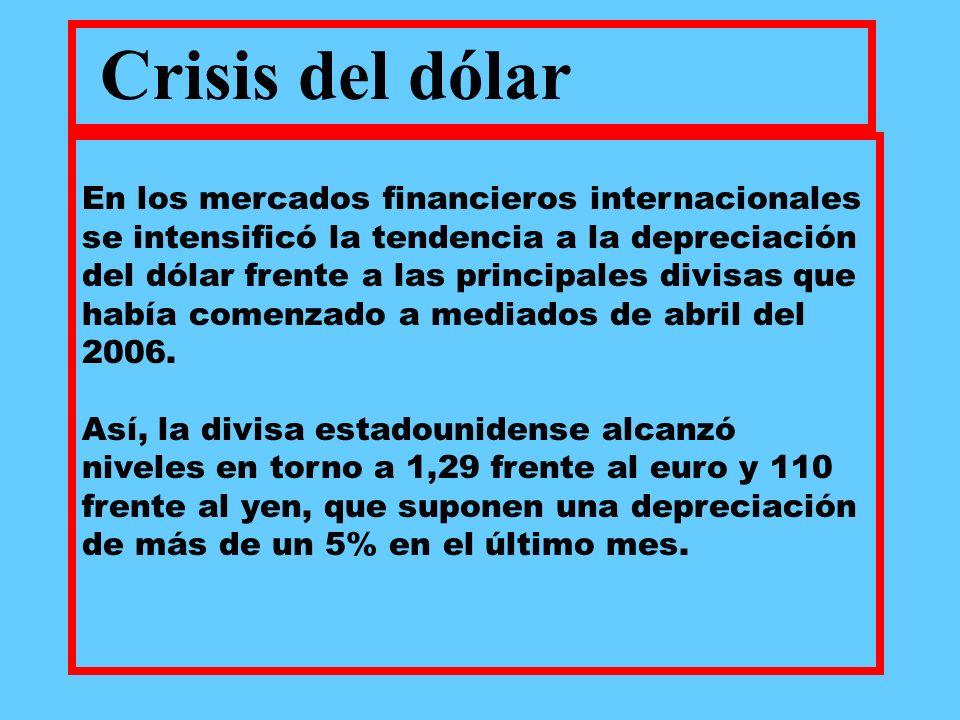 En los mercados financieros internacionales se intensificó la tendencia a la depreciación del dólar frente a las principales divisas que había comenzado a mediados de abril del 2006.