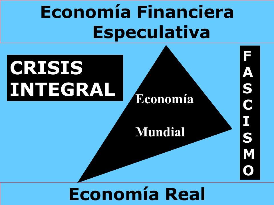 Economía Real Economía Financiera Especulativa Economía Mundial CRISIS INTEGRAL FASCISMOFASCISMO