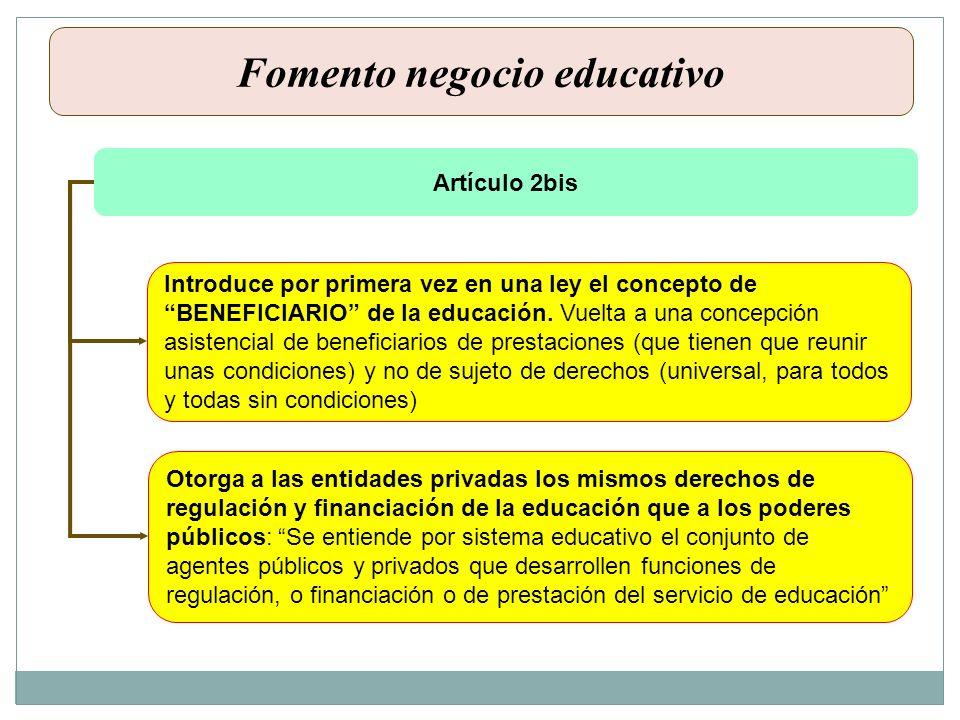 Artículo 2bis Introduce por primera vez en una ley el concepto de BENEFICIARIO de la educación. Vuelta a una concepción asistencial de beneficiarios d
