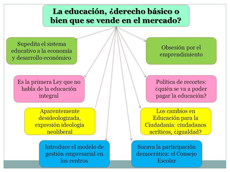 La educación, ¿derecho básico o bien que se vende en el mercado? Supedita el sistema educativo a la economía y desarrollo económico Es la primera Ley