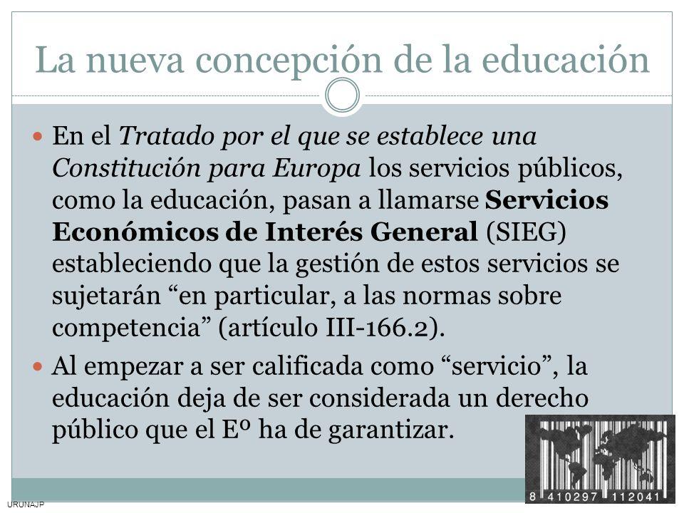 URUNAJP La nueva concepción de la educación En el Tratado por el que se establece una Constitución para Europa los servicios públicos, como la educaci
