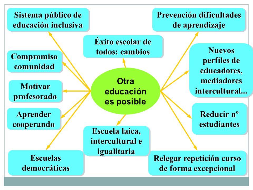 Otra educación es posible Prevención dificultades de aprendizaje Sistema público de educación inclusiva Escuelas democráticas Relegar repetición curso