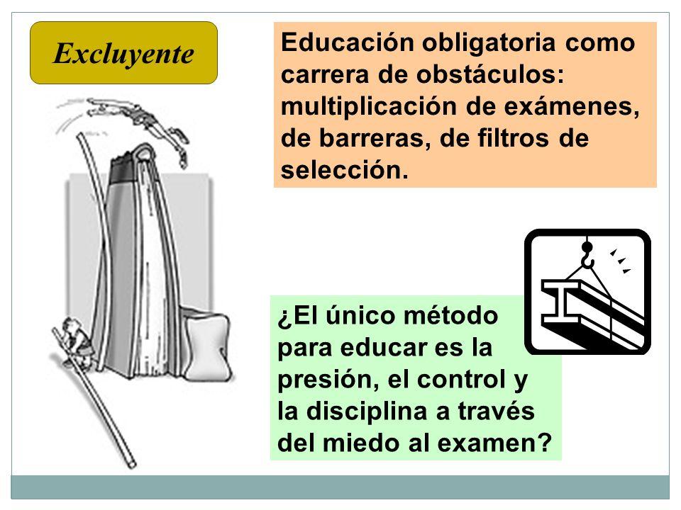 Educación obligatoria como carrera de obstáculos: multiplicación de exámenes, de barreras, de filtros de selección. ¿El único método para educar es la