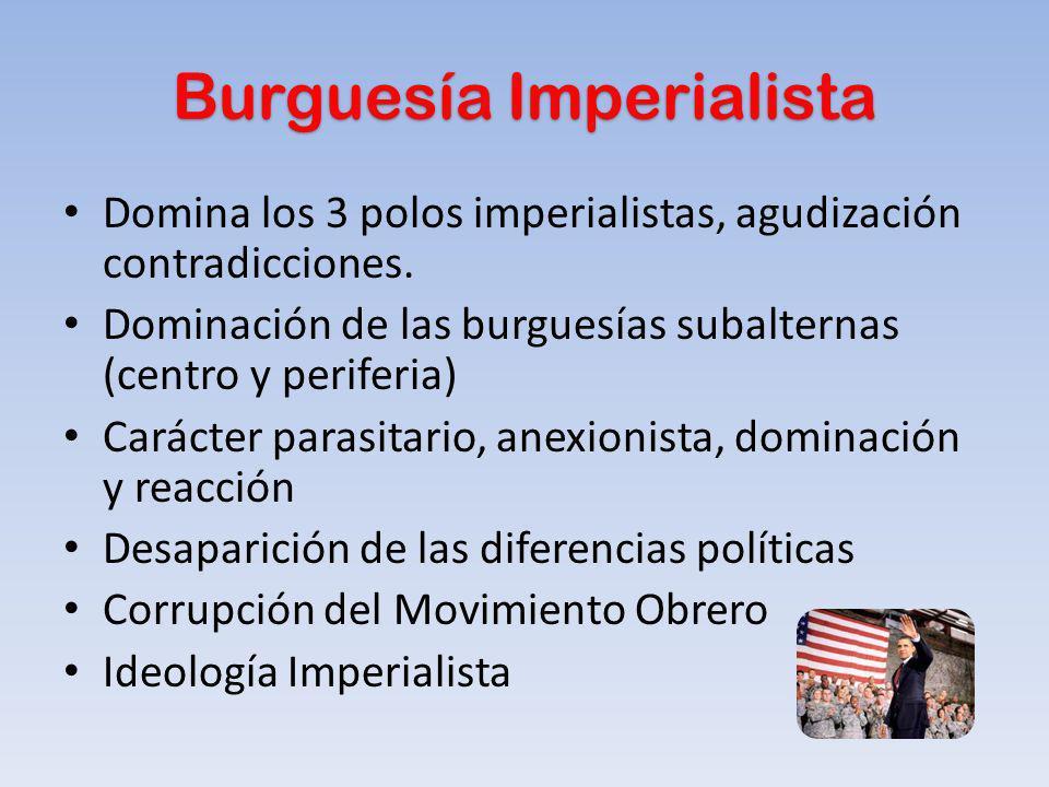 Burguesía Imperialista Domina los 3 polos imperialistas, agudización contradicciones. Dominación de las burguesías subalternas (centro y periferia) Ca